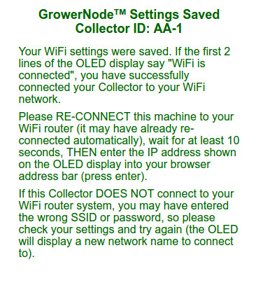 the system will test the wifi settings you submitted
