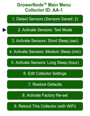 Main Menu: the Collector can test soil sensors within range that are on the saved list