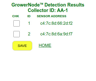 this is the sensor detection results screen