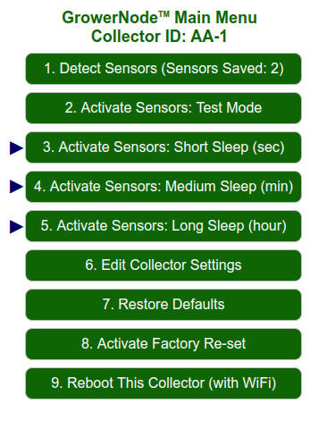 Main Menu: the sensor sleep functions are the actual operating modes