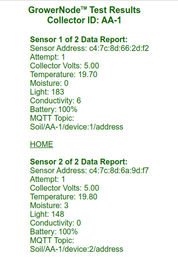 successful soil sensor test results screen